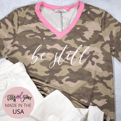 Be Still Camo Premium Ladies V-Neck