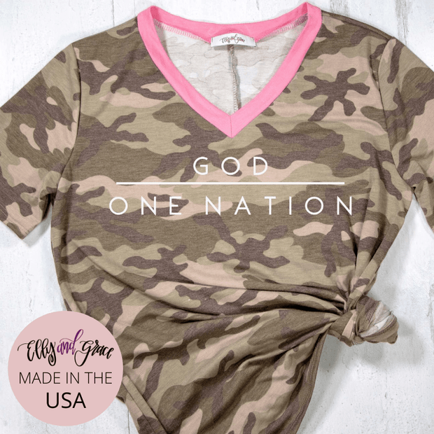 One Nation Under God Camo Premium Ladies V-Neck