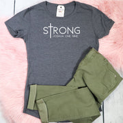 sTrong Joshua 1:9 Ladies Short Sleeve Shirt