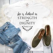 She is Clothed in Strength and Dignity Ladies Short Sleeve Shirt