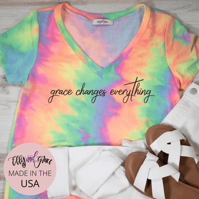 Grace Changes Everything Premium Terry Tie Dye V-Neck