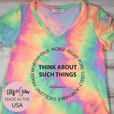 Think About Such Things Premium Terry Tie Dye V-Neck