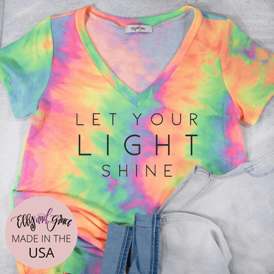 Let Your Light Shine Premium Terry Tie Dye V-Neck