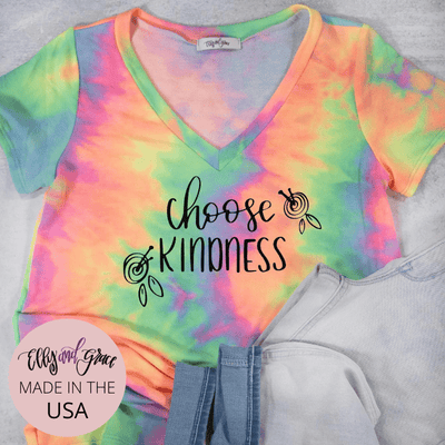 Choose Kindness Premium Terry Tie Dye V-Neck