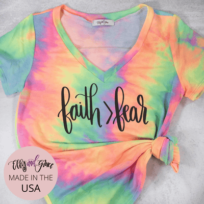 Faith > Fear Premium Terry Tie Dye V-Neck