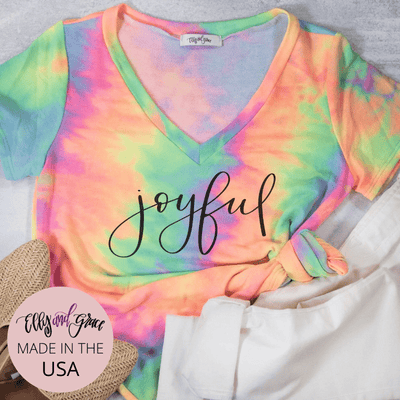 Joyful Premium Terry Tie Dye V-Neck
