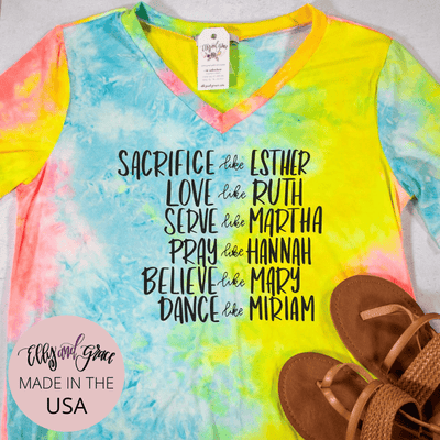 Women of the Bible Premium Tie Dye V-Neck