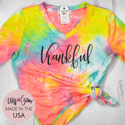 Thankful Premium Tie Dye V-Neck