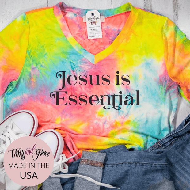 Jesus is Essential Premium Tie Dye V-Neck