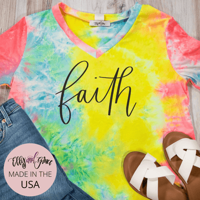 Faith Premium Tie Dye V-Neck