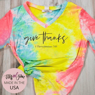 Give Thanks Premium Tie Dye V-Neck