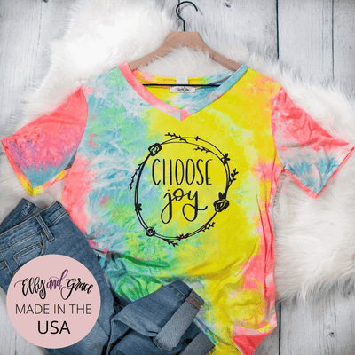 Choose Joy Premium Tie Dye V-Neck