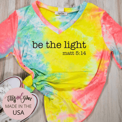 Be the Light Premium Tie Dye V-Neck