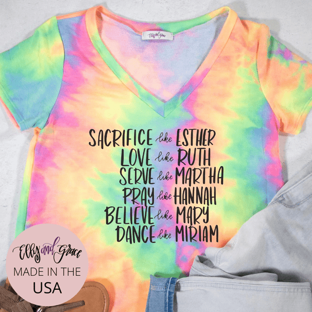 Women of the Bible Premium Terry Tie Dye V-Neck