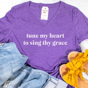 Tune My Heart to Sing Thy Grace Relaxed Ladies V-Neck