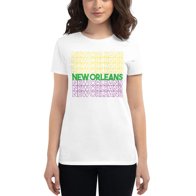 Ladies' New Orleans Mardi Gras Typography T-Shirt - Box Of Care