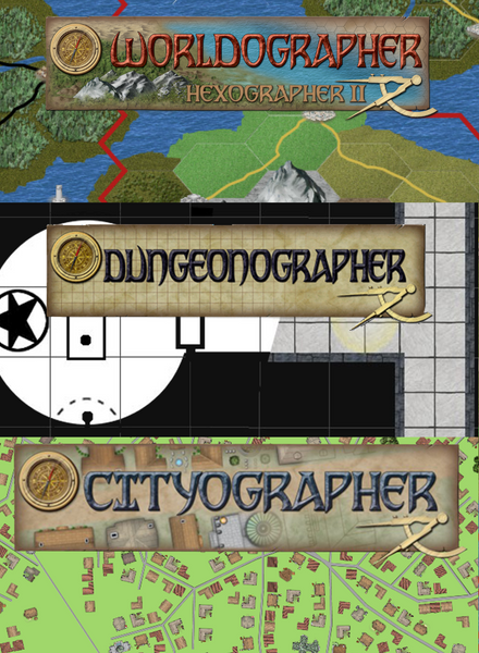 Bundle: Worldographer (Hexographer 2), City/Town/Village & Dungeon/Battlemat Licenses for Worldographer, plus Hexographer 1, Cityographer, and Dungeonographer Pro Versions