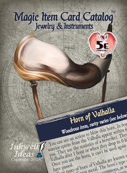 Magic Item Card Catalog (5e): Jewelry & Instruments