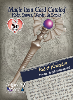 Magic Item Card Catalog (5e): Rods, Staves, Wands, & Scrolls