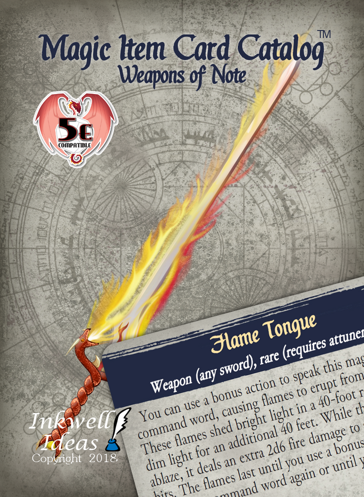 magic item card catalog  5e   weapons of note  u2013 inkwell ideas