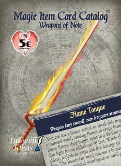 Magic Item Card Catalog (5e): Weapons of Note
