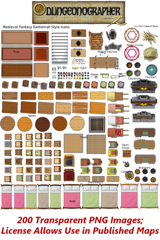 Dungeonographer Medieval Fantasy Battlemat Icons Set
