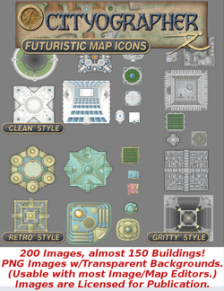 Cityographer Futuristic City Map Icons Set