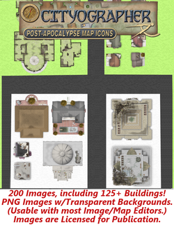 Cityographer Post Apocalyptic City Map Icons Set