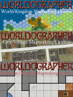 Bundle: Worldographer (Hex 2), City/Village & Dungeon/Battlemat Licenses for Worldographer, & Hexographer 1, Cityographer, Dungeonographer Pro