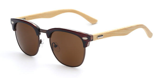 Totalglasses Unisex Half Metal Bamboo Sunglasses - Sunglasses Deal Center
