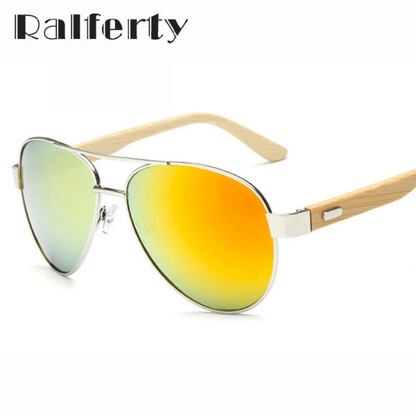 Ralferty Unisex Pilot Bamboo Sunglasses - Sunglasses Deal Center