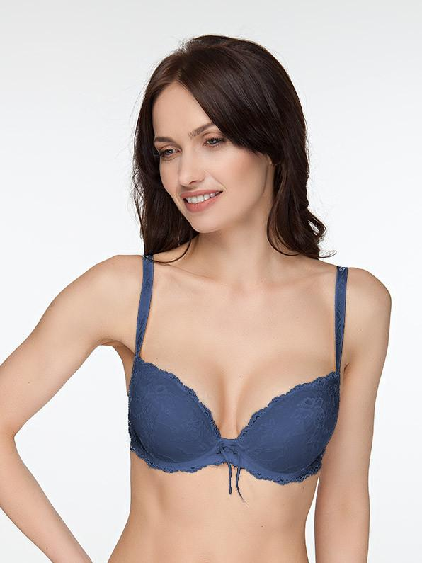 Milavitsa 11941 Classic Cotton Push-Up Bra French Blue - MissVenera.com