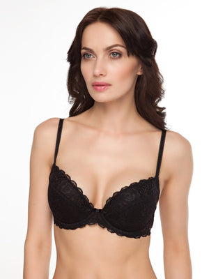 Milavitsa Silhouette Lace Push-Up Bra 12328: Black - Miss Venera