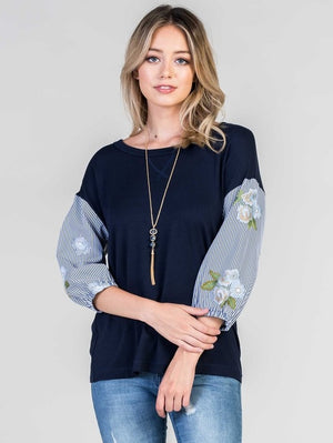 Give Me A Moment Embroidered Top - Blue
