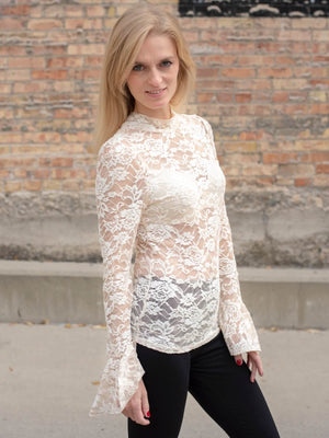 Lace Long Sleeve Top - Shell