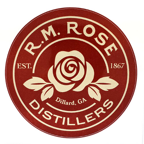 Sticker - R.M. Rose Distillers with Rose.  Round burgundy.
