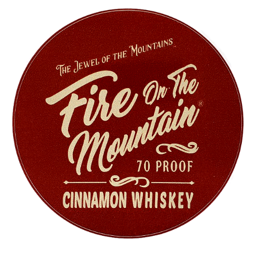 Sticker - Fire on the Mountain Cinnamon Whiskey in burgundy