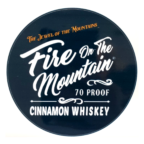 Sticker - Fire on the Mountain Cinnamon Whiskey in navy blue