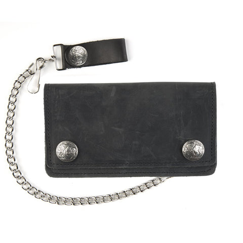 "6"" Biker Wallet with Buffalo Snaps - Biker Wear House"