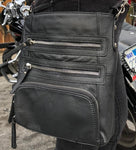 Black Leather Ride Purse with Belt Clips - Biker Wear House