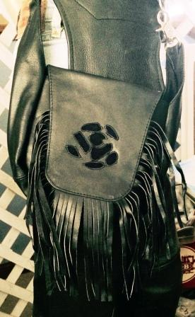 Black Leather Fringe Purse with Rose Inlay. - Biker Wear House