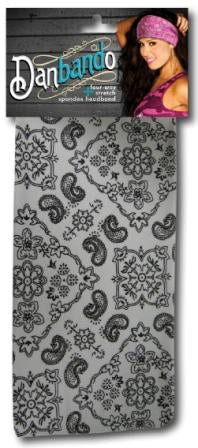 Danbando four-way Stretch Spandex Headband White Paisley - Biker Wear House