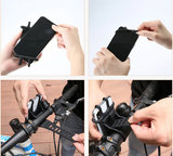 Universal motorcycle/bicycle cell phone holder.