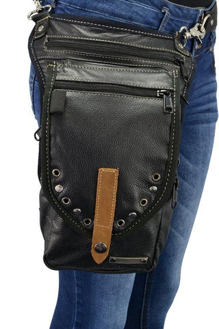 Black Leather Thigh Bag with Waist Belt - Biker Wear House