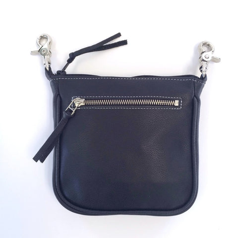 Softest Leather Clip Pouch with Zipper Pocket - Biker Wear House