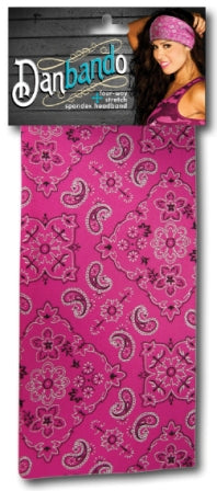 Danbando four-way Stretch Spandex Headband Pink Paisley - Biker Wear House