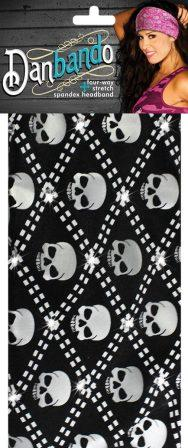 Danbando four-way Stretch Spandex Headband Silver Skull - Biker Wear House
