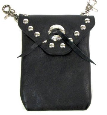 Studded Clip Pouch with Concho - Biker Wear House