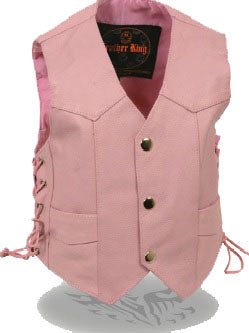 Toddler Pink Leather Vest - Biker Wear House