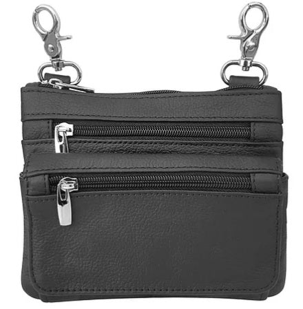 Belt Clip Purse with zippers - Biker Wear House